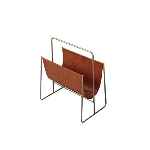 L&QQ Magazine Holder, Elegant PU Leather Magazine Organiser for Bathrooms or Offices - Suitable for Books, Tablets, and Newspapers,Brown