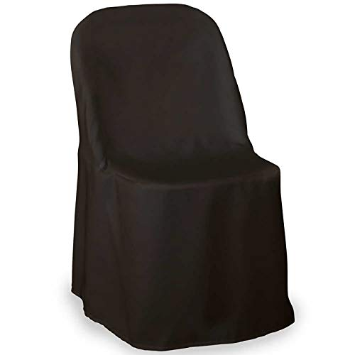 (Lann's Linens - 10 Elegant Wedding/Party Folding Chair Covers - Polyester Cloth - Black)