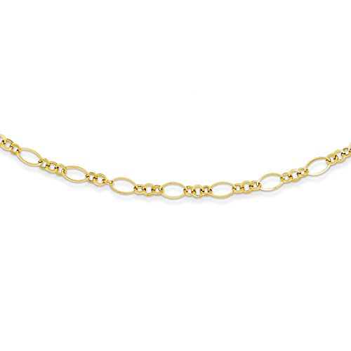 14k Yellow Gold Chain Necklace Pendant Charm Fancy Fine Jewelry Gifts For Women For Her ()
