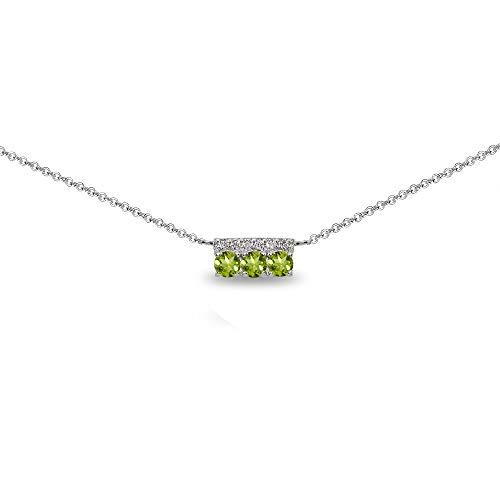 Sterling Silver Peridot & Cubic Zirconia Round Three Stone Dainty Bar Choker Necklace