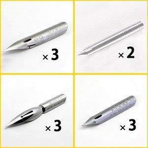 Nikko Manga Pen 4 Type Nibs Set, N-GPen×3pc N-MaruPen×2pc N-SchoolPen×3pc N-SajiPen×3pc, Storage Pack and Anti Rust Paper included