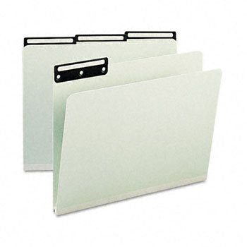 Smead® Recycled Heavy Pressboard File Folders With Insertable Metal Tabs FOLDER,PSBD,1/3C,LTR,25GG (Pack of2) Cut Pressboard Metal Tab File