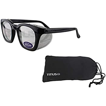 Retro Style Safety Glasses with Side Shield (With Pouch, Clear Lens - Gloss  Frame)