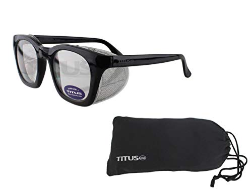 Retro Style Safety Glasses with Side Shield (With Pouch, Clear Lens - Gloss Frame) (Vintage Safety Glasses)