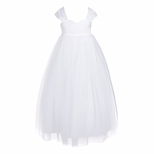 FEESHOW Tulle Flower Girl Dress Empire Waist Princess Wedding Bridesmaid Party Dance Gown White 2 (Empire Gown)