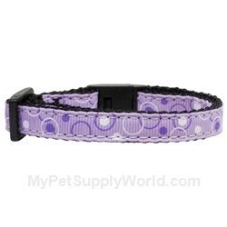 Mirage Pet Products Retro Nylon Ribbon Cat Safety Collar, Lavender