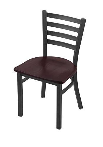 """Holland Bar Stool Co. 400 Jackie 18"""" Chair with Pewter Finish and Dark Cherry Oak Seat"""