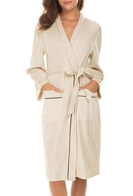 Invug Women Kimono Bathrobe Soft Flannel Sleepwear Fleece Spa Robes with Pockets