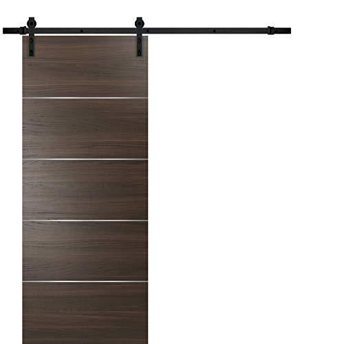 Barn Sliding Brown Door 42 x 96 with 8FT   Planum 0020 Chocolate Ash   Sturdy Top Mount Track Set Steel Set   Closet…