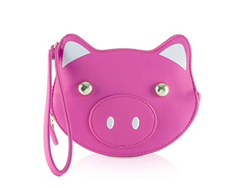 Luv Betsey Johnson LBKIT Zippered Kitch Clutch Wristlet Coin Purse Pouch - Fuschia 3D Pig Kitch