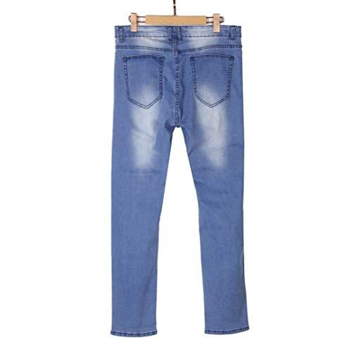 Verano Blau El Largo Pantalones Delgado De Ocio Battercake Dificultades Vaqueros Streetwear Mezclilla Se Raídos Cómodo Ocasional Rip La Elástico Los Manera Transpirable Hombres aBWwnXnx