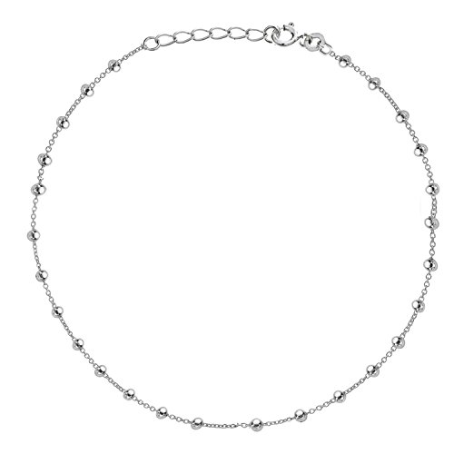 Sterling Silver Beaded Bead Link Chain Anklet Ankle Bracelet 9 - 10 inches by Ritastephens