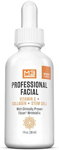 M3 Naturals Professional Facial Vitamin C Infused with Collagen Stem Cell and Patented Fision Wrinkle Fix Face Eye Oil Topical Facial Serum Natural Skin Care Acne Anti Aging Dark Spot Remover Cream