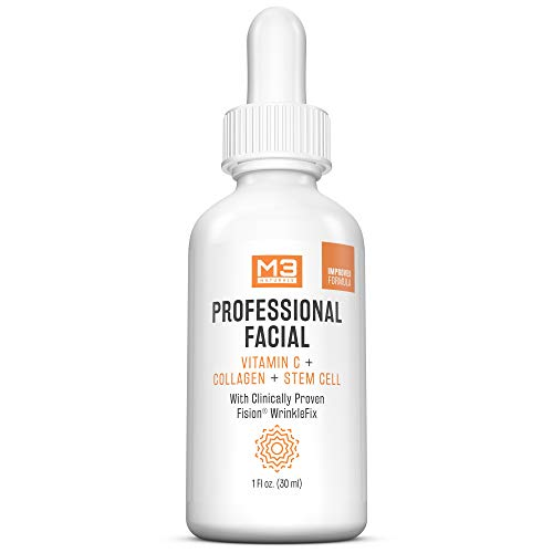 M3 Naturals Professional Facial Vitamin C Infused with Collagen Stem Cell and Patented Fision Wrinkle Fix Face Eye Oil Topical Facial Serum Natural Skin Care Acne Anti Aging Dark Spot Remover Cream (Vitamin C Serum Acne)