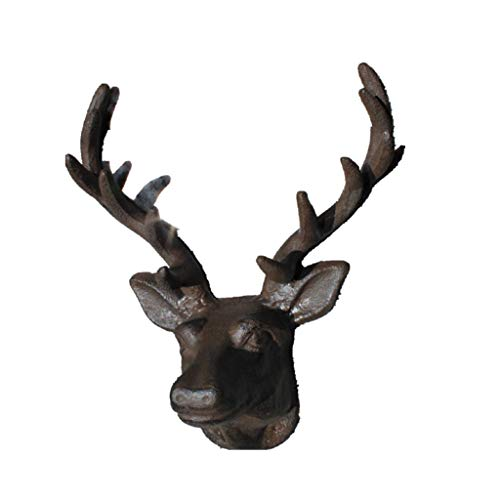 (Vintage Brown Cast Iron Deer Antler Head Coat Hook Wall Mounted Double Coat Hooks Rack Wall Hanger (Color : B))