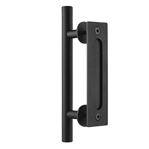 """SMARTSTANDARD 12"""" Pull and Flush Door Handle Set in Black Sliding Barn Door Hardware Handle"""