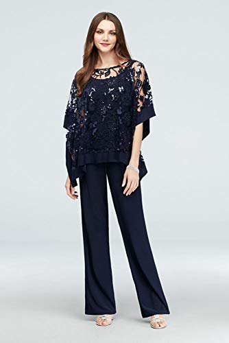 Sequin Lace Pantsuit with Sheer Poncho Style 2288, Navy, 16