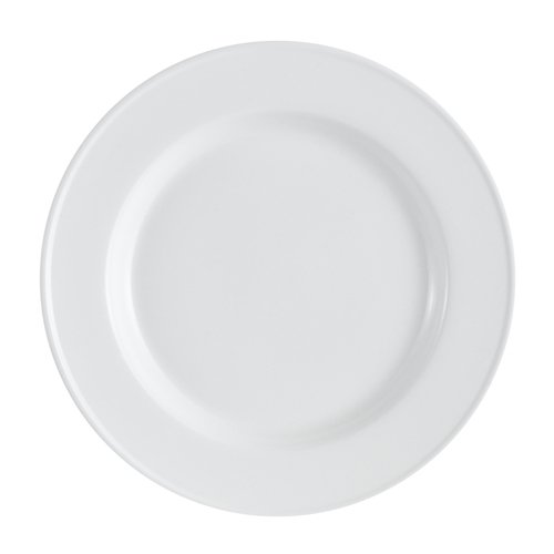 CAC China EVT-5 Elegant Everest Fully Glazed Porcelain Round Plate, 5-1/2'' Diameter by 1/2'', Bone White (Box of 36) by CAC China