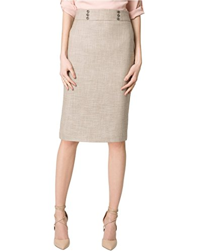 LE CHÂTEAU Women's Stretch Textured Pencil Skirt,8,Tan (Stretch Skirt Tan)