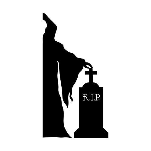 Vinyl Wall Art Decal - Grim Reaper and Grave - 43