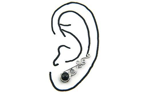 Boucles d'oreilles plaqué argent avec Onyx 8 x 29 mm