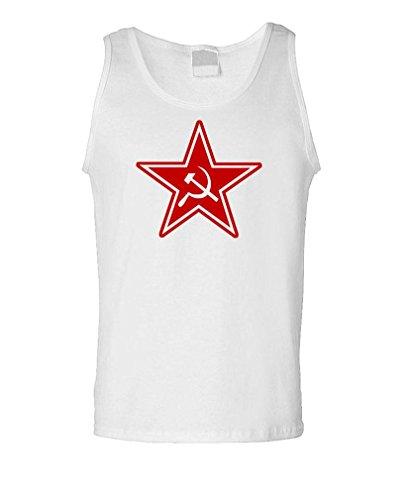 RUSSIAN COMMUNIST STAR - retro 80's cccp commie Tank Top, XL, White