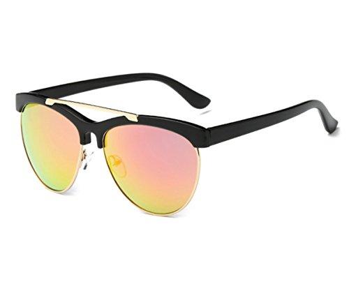 Konalla Womens Half Frame UV-400 Flash Mirror Fashion Sunglasses C4 (High Elvis Sunglasses Quality)