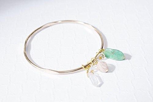 Gemstone Bangle Bracelet for Women Handmade Chrysoprase Moonstone Quartz Jewelry Made in the US