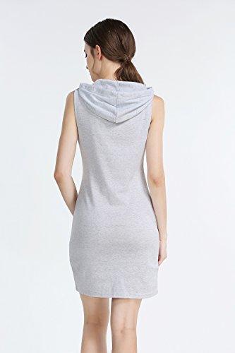 Aeete Mode Des Femmes De L'été Sans Manches Casual Capuche Robe Gris Clair
