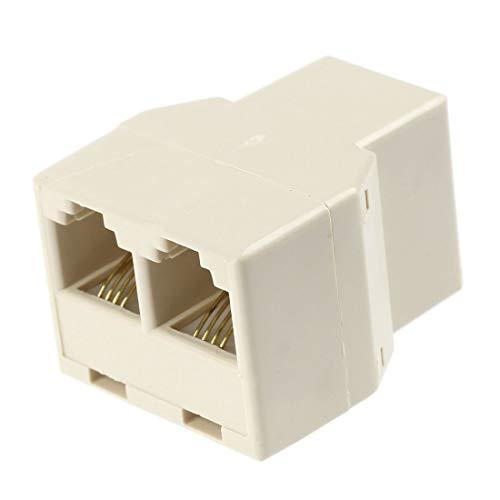 - AMOMAZ Beige RJ11 6P4C 1 to 2 Female Plug Telephone line Splitter Connector 10 Pcs