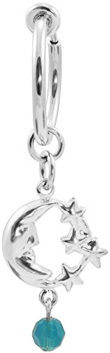 BodySparkle Body Jewelry Fake Belly Button Ring Set-Silver Color Clip on Hoop-Interchangeable Dangles (B. Single Moon-3/8) (Magnetic Belly Ring)