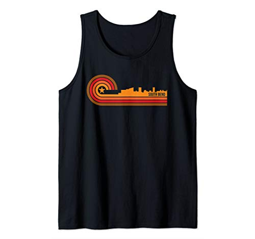 Retro South Bend Cityscape - South Bend IN Skyline Tank Top