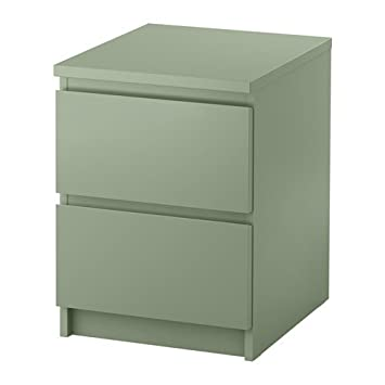 Ikea Malm Kommode Mit 2 Schubladen In Hellgrun 40x55cm Amazon