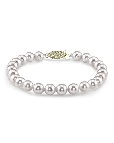 - THE PEARL SOURCE 14K Gold 7-7.5mm AAA Quality Round White Japanese Akoya Saltwater Cultured Pearl Bracelet for Women