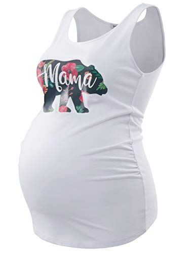 GINKANA Women's Mama Bear Maternity Tank Tops Sleeveless Side Ruched Pregnancy Shirts