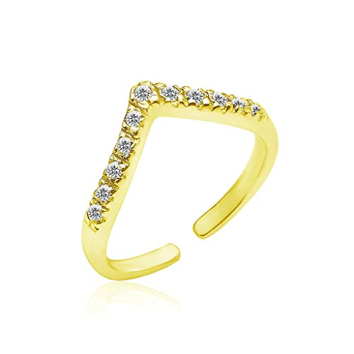 Sexy Gold Toe Ring - Big Apple Hoops - Genuine 925 Sterling Silver ''Basic and Simple'' Open Knuckle/Toe Ring for Women with Sparkling Cubic Zirconia | All Day Comfort