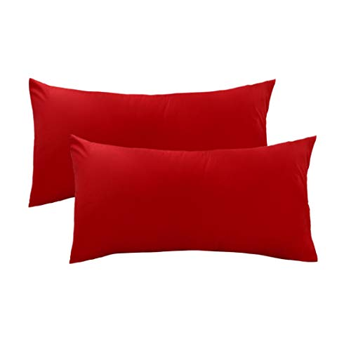 uxcell Pillow Cases Covers Pillowcases Protectors King Size Housewife Egyptian Cotton 250 Thread Count Set of 2, Red (Red King Pillowcases)