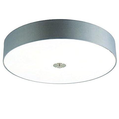 QAZQA Modern Deckenleuchte Deckenlampe Lampe Leuchte Drum Mit Schirm 70 Rund Grau