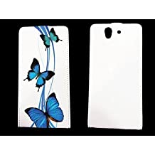 leather Sony Xperia Z papillons - - case blanche - papillon bleu -