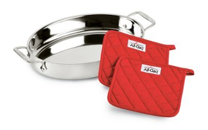 All-Clad Stainless Steel 15 inch Oval Baker with Pot Holders