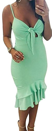 Cromoncent Womens Summer Spaghetti Strap Ruffled Bandage Bodycon Dress Green s by Cromoncent