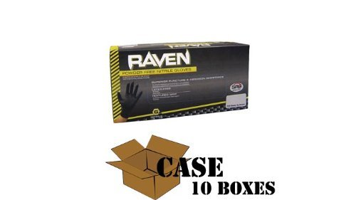 SAS Safety Raven Nitrile Exam Powder Free Gloves 6Mil - Case Size XX-Large 31Ac590mfTL