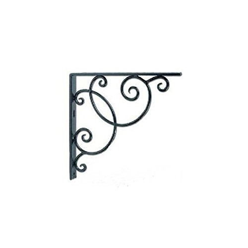 PIXNOR Wall Mounted Floral Style Shelf Brackets for Bookrack Calpboard - 2pcs Black