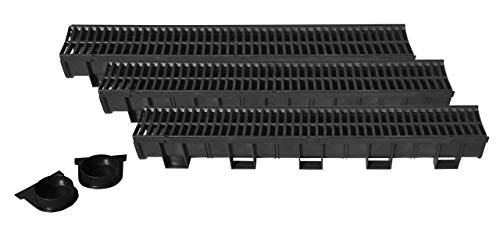 US TRENCH DRAIN, 83300-3 - 10 ft RegularTrench Drain - Black Polymer, Heel Friendly Grate - Pack with 2 End Caps - For Drainage Systems, Driveway, Basement, Pools, ()