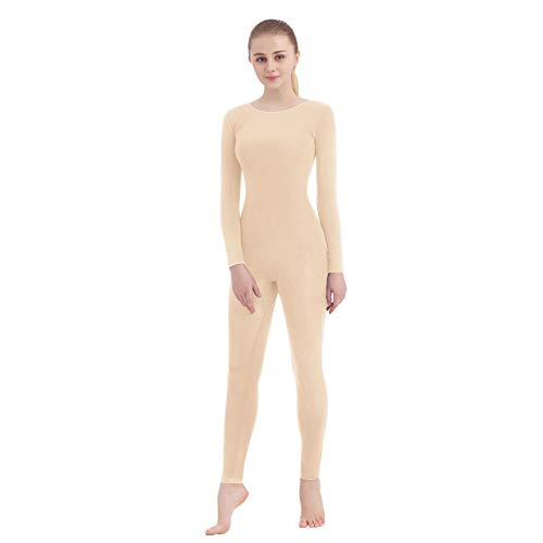 Unisex Scoop Neck Footed/Footless Long Sleeve/Sleeveless Lycra Spandex Unitard (Small, Nude (Footless))]()