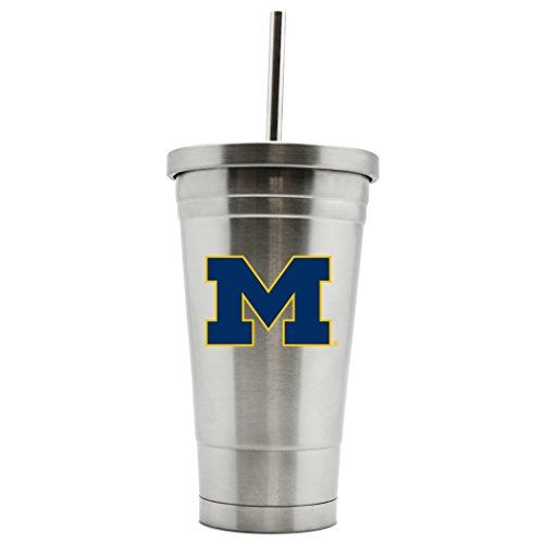 Michigan Wolverines Ncaa Tumbler - NCAA Michigan Wolverines 17oz Double Wall Stainless Steel Thermo Tumbler with Straw