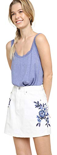 - Umgee Women's Floral Embroidered Denim Mini Skirt (Large, White Denim)