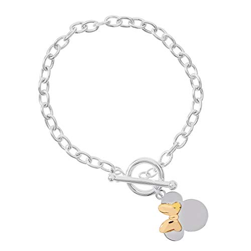 Disney Minnie Mouse Jewelry, Sterling Silver Toggle Bracelet with Pink Bow; Mickey's 90th Birthday Anniversary