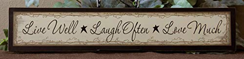 (Iliogine Wooden Home Sign Primitive Country Block Shelf Sign Live Well Laugh Often Love Much Family Inspirational Housewarming Gift Cabin Decor Hanging Door Sign Plaque)