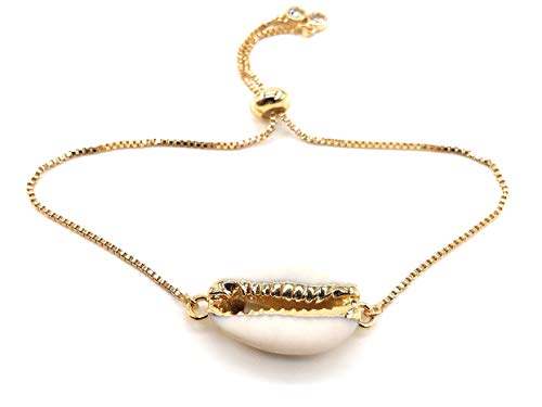 LESLIE BOULES Sea Shell Bracelet Natural Cowrie Bead 18K Gold Plated Chain Adjustable